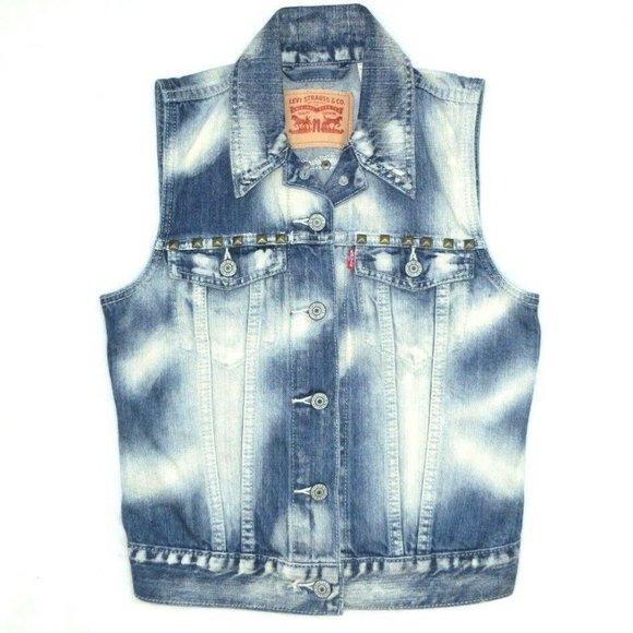 Levi's Levi Strauss Denim Jean Vest Punk Rock Stud